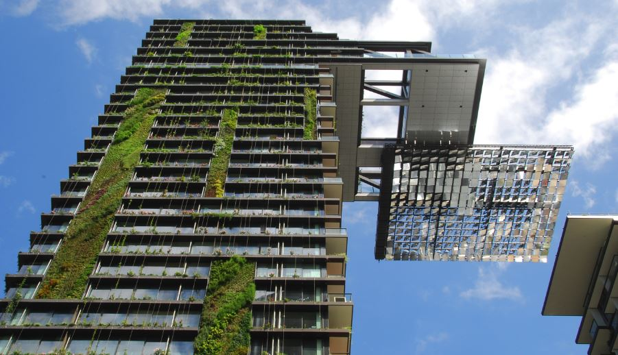 One central park building, showing living wall and green design